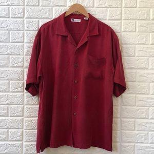 Bachrach cranberry 100% silk men's shirt
